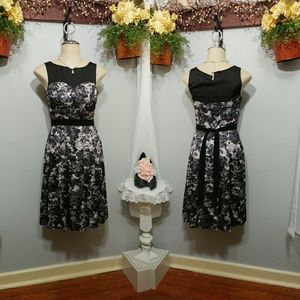 H&M Black floral fit and flare dress size 4